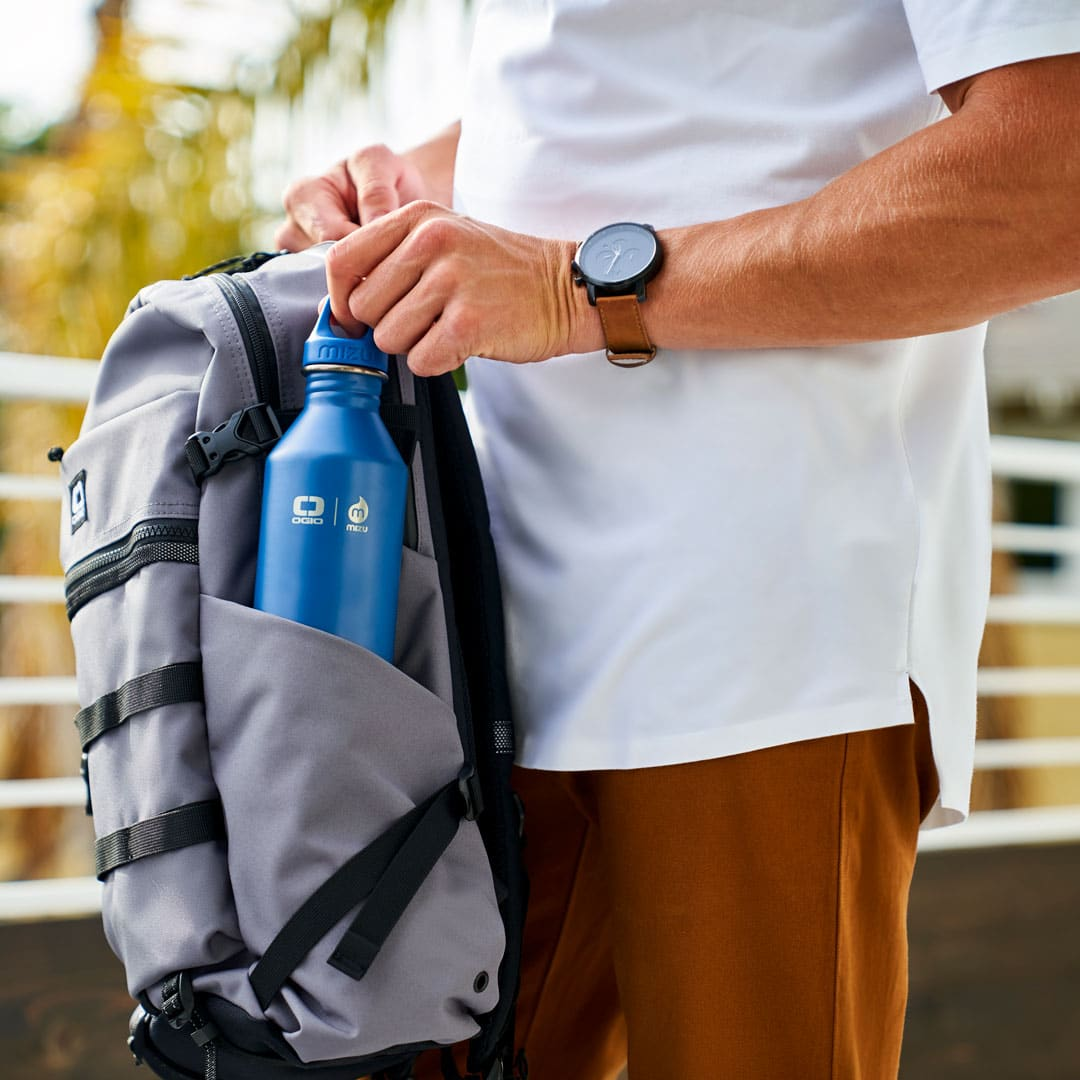 Backpack with water bottle holder